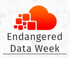 Red Cloud logo (slightly circular and puffy) with the words endangered data week below in solid black text.